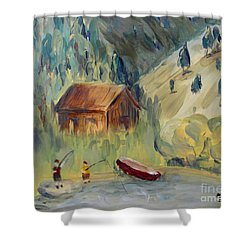 Shower Curtain featuring the painting On The Lake by Maria Langgle
