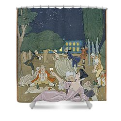 On The Lawn Shower Curtain by Georges Barbier