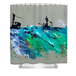 On The River Sports Art Abstract Art Shower Curtain by Catherine Jeltes