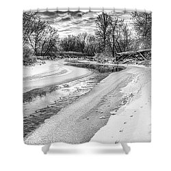 On The Riverbank Bw Shower Curtain