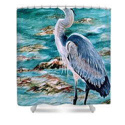 On The Rocks Great Blue Heron Shower Curtain