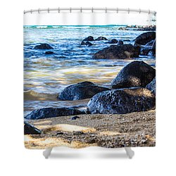 On The Rocks Shower Curtain by Suzanne Luft