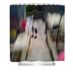Shower Curtain featuring the photograph On The Stairs by Alex Lapidus