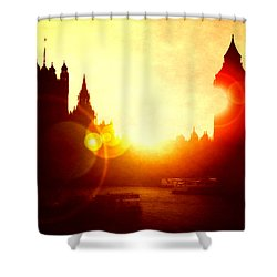 Shower Curtain featuring the digital art Big Ben On The Thames by Fine Art By Andrew David