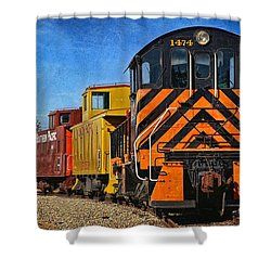 Shower Curtain featuring the photograph On The Tracks by Peggy Hughes