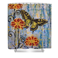 Shower Curtain featuring the painting On The Wings Of A Dream by Jane Chesnut