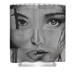 Shower Curtain featuring the drawing One And The Same 3 by Malinda  Prudhomme
