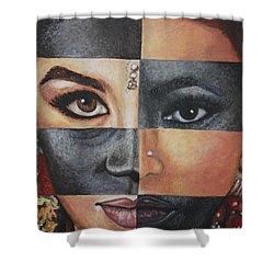 Shower Curtain featuring the painting One And The Same by Malinda  Prudhomme