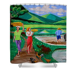 One Beautiful Morning In The Farm Shower Curtain by Lorna Maza