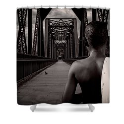 One Boy One Pigeon One Bridge Shower Curtain by Bob Orsillo