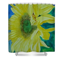 One Bright Sunflower Colorful Original Art Floral Flowers Artist K. Joann Russell Decor Art  Shower Curtain by Elizabeth Sawyer
