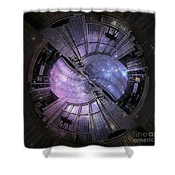 One Bulb Out In A Swirl With A Galaxy Shower Curtain