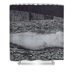One Corpse Shower Curtain by August Bromse