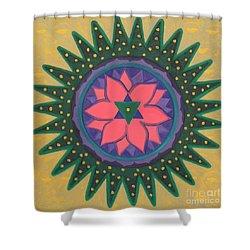 One Gold Bindu Shower Curtain by Mini Arora