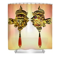 One Gold Sculpture Pendant Shower Curtain by Hartmut Jager
