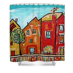 Shower Curtain featuring the painting One House Has A Screen Door by Mary Carol Williams