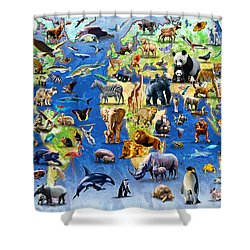 One Hundred Endangered Species Shower Curtain by Adrian Chesterman
