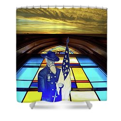 One Last Battle Union Soldier Stained Glass Window Digital Art Shower Curtain by Thomas Woolworth