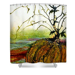 One Little Pumpkin Shower Curtain