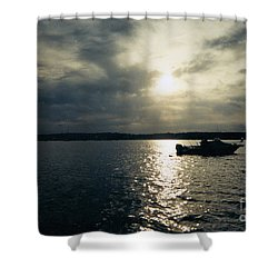 One Lonely Fisherman Shower Curtain by John Telfer