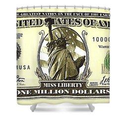 One Million Dollar Bill Shower Curtain
