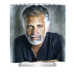 One Of The World's Most Interesting Man - In Oil Shower Curtain by Angela A Stanton
