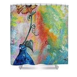 Shower Curtain featuring the painting One Solitary Flower by Eloise Schneider