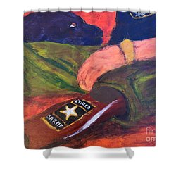 Shower Curtain featuring the painting One Team Two Heroes - 2 by Donald J Ryker III