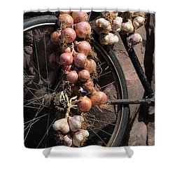 Onions And Garlic On Bike  Shower Curtain by Jeremy Voisey