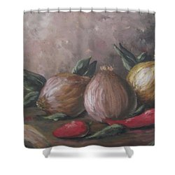 Shower Curtain featuring the painting Onions And Peppers by Megan Walsh