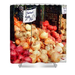Onions And Potatoes Shower Curtain by Susan Savad