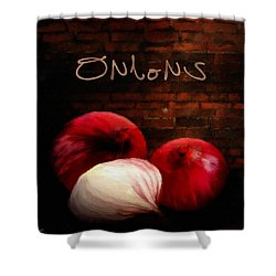 Onions II Shower Curtain by Lourry Legarde