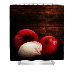 Onions Shower Curtain by Lourry Legarde