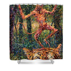 Only A Crazy Monkey Dances On A Tiger's Head Shower Curtain by James W Johnson