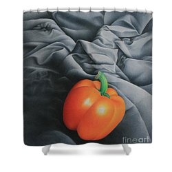 Shower Curtain featuring the painting Only Orange by Pamela Clements
