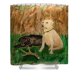 Onyx And Sarge Shower Curtain