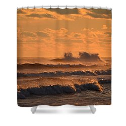Shower Curtain featuring the photograph Opal Beach Sunset Colors With Huge Waves by Jeff at JSJ Photography