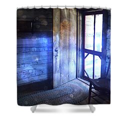 Open Cabin Door With Orbs Shower Curtain by Jill Battaglia