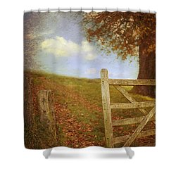 Open Country Gate Shower Curtain by Amanda Elwell