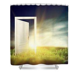 Open Door On The Green Field Shower Curtain by Michal Bednarek