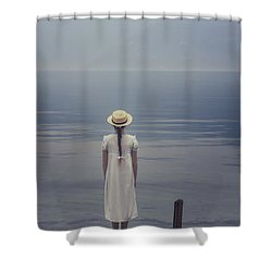 Open Suitcase Shower Curtain by Joana Kruse