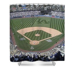 Shower Curtain featuring the photograph Opening Day Upper Deck by Chris Tarpening