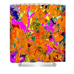 Orange Abstract Shower Curtain by Barbara Moignard