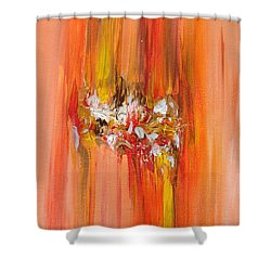 Orange Abstract Landscape Shower Curtain