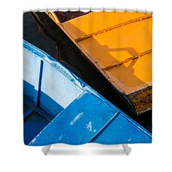 Orange And Blue Shower Curtain by Davorin Mance