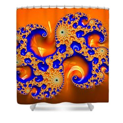 Orange And Blue Fractal Spirals Shower Curtain by Matthias Hauser