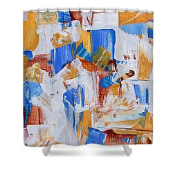 Shower Curtain featuring the painting Orange And Blue by Heidi Smith