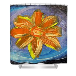 Shower Curtain featuring the painting Orange And Blue by Lisa Brandel