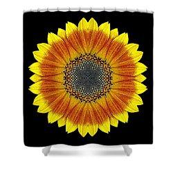 Orange And Yellow Sunflower Flower Mandala Shower Curtain by David J Bookbinder
