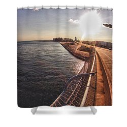 Orange Beach From Perdido Bridge Shower Curtain by Michael Thomas